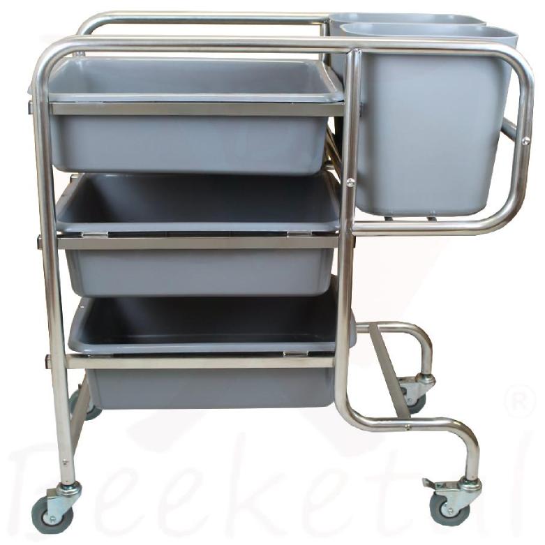 Beeketal-Edelstahl-Servierwagen-Transportwagen-Abraeumwagen-Rollwagen-Kuechenwagen